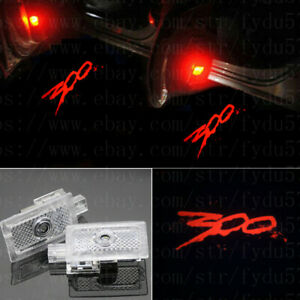 2x Red 300 Logo Ghost Led Door Shadow Projector Lights For Chrysler 300 2005 19