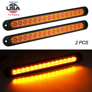 2x Yellow 15led Light Bar Stop Turn Tail Reverse Backup Truck Trailer Waterproof