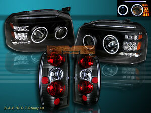 Fit For 01 04 Frontier Ccfl Twin Halo Projector Headlights Blk Led tail Lights
