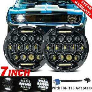 Pair 7 Led Headlights Drl Hi lo Beam Projector Lamp For Chevrolet Camaro 67 81