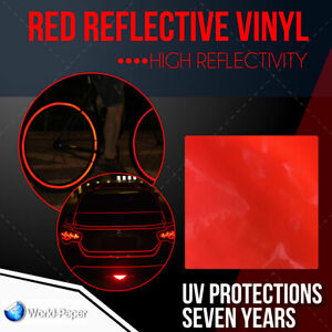 Reflective Red Sign Vinyl Adhesive Safety Plotter Cutter 12 X 10 Feet