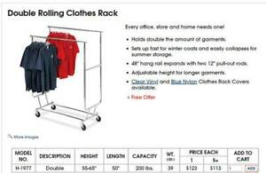 Uline Rolling Commercial Double Rail Clothing Garment Rack Heavy Duty