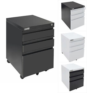 3 drawer Rolling Mobile File Cabinet Lock Storage Steel Metal Office Home