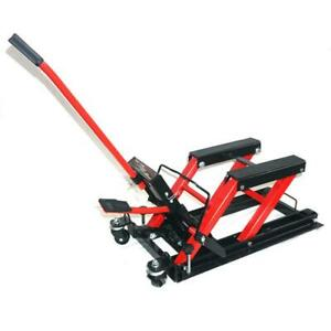 New Pro Motorcycle Atv Jack Lift Stand Quad Dirt Street Bike Hoist 1500lbs Red
