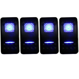 4pcs Waterproof Rocker Switch 12v 20a On off on 2 Position Dpdt 7 Pin 2 Blue Led