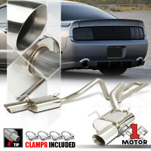 Dual Muffler 4 Beveled Edge Tip Catback Exhaust System For 05 10 Mustang 4 0 V6