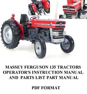 Massey Ferguson 135 Tractor Operator s Instruction Parts Operator Manual Owner