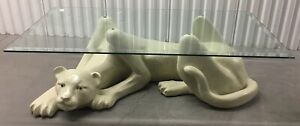 Vintage White Panther Coffee Table Thick Fiberglass With Glass Top 52x26x15