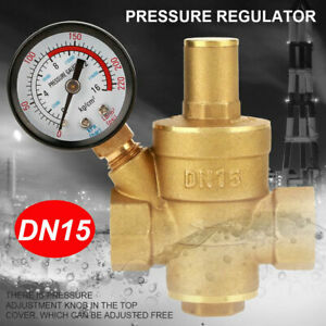 Adjustable Dn15 Brass 1 2 Water Pressure Regulator Reducer With Gauge Meter Us