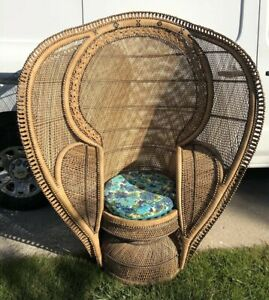 Vintage Large Mcm Wicker Rattan Cobra Fan Back Throne Chair Chicago