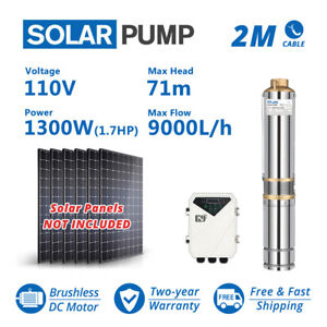 4 Dc Solar Pump 110v 1300w 40gpm Water Bore Hole Submersible Agriculture Farm