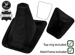 Black Stitch Leather Shift Boot metal Frame top Ring Fits Nissan Skyline R32