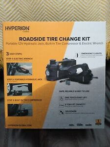 Hyperion By Deltran Roadside Tire Change Kit Portable 12v Hydraulic Jack