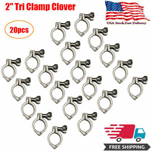 2 Tri Clamp Clover Sanitary Fits 64mm Od Ferrule 304 Stainless Steel 20pcs Us