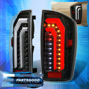 For 16 20 Toyota Tacoma Black Clear Led Tube Brake Tail Lights Lamps Left Right