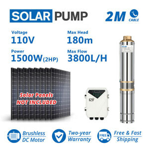3 Dc Solar Water Pump Submersible Deep Bore Well 16 7gpm 590ft Plastic Impeller