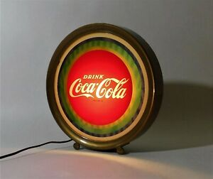 Vintage 1960's DRINK COCA COLA Round Light Up Lenticular Sign ~ Price Brothers