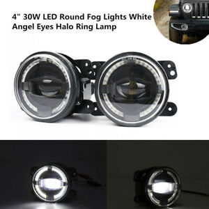 4 30w Led Fog Light White Angel Eyes Halo Ring Lamp2000lm Universal Fit For Jeep