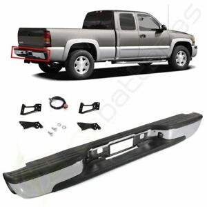 Rear Bumper New Chrome Complete For 1999 2007 Chevy Silverado Sierra 1500 2500