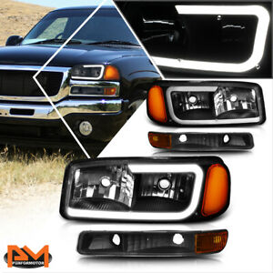 For 99 07 Gmc Sierra Yukon Xl Led Drl Headlight W Bumper Lamp Black Amber 4pcs