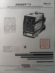 Lincoln Ranger 9 Welder Generator Owners Onan Engine Parts 2 Manual S Gas
