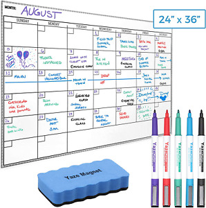 Wall Calendar Dry Erase Sticky Whiteboard 5 Markers Eraser 24 X 36 For