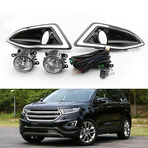 Pair Front Bumper Fog Lights Lamps Harness Switch Kit For Ford Edge 2015 2018 Us