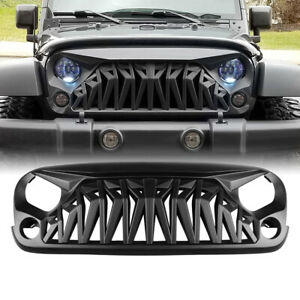 For 07 18 Jeep Wrangler Jk Jku Shark Grille Guard Matte Black Abs Plastic