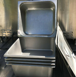 Lot Of 5 Stainless Steel Two Third Size 6 Deep Steam Table Pans