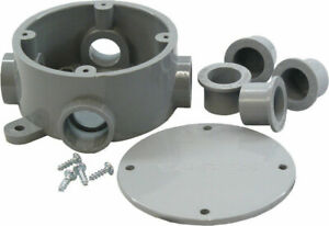 Cantex 4 3 4 In Round Pvc 1 Gang Junction Box Gray