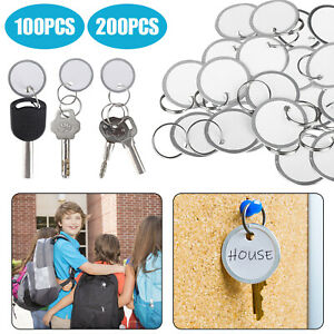 200 100x Metal Rimmed Key Round Paper Name Tags With Ring Keychain Key Id Label