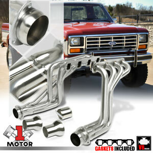 Ss Long Tube Exhaust Header Manifold For 80 96 Ford F series Pickup bronco Ls v8