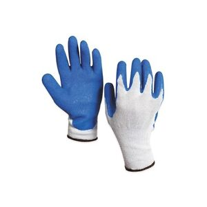 Rubber Coated Palm Gloves Medium White blue 12 Pairs case
