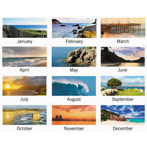 Visual Organizer Panoramic Seascape Monthly Desk Pad Calendar 22 X 17 Ea Aag