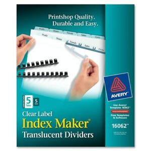 Avery Index Maker Clear Dividers Five tab Letter 5 Sets pack Pk Ave16062