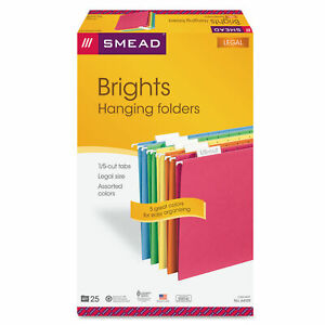 Smead Colored Hanging File Folders Legal Size 1 5 cut Tab Assorted 25 box