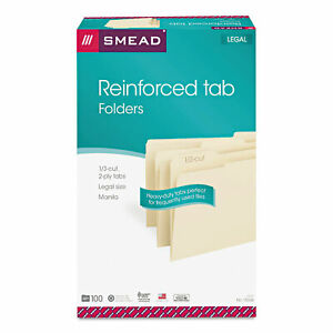 Smead File Folders 1 3 Cut Assorted Reinforced Top Tab Legal Manila 100 box