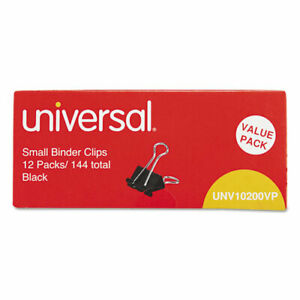 Universal Binder Clips In Zip seal Bag Small Black silver 144 pack