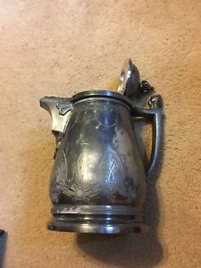 1858 Antique Vintage Coffee Tea Pot Silver Plated Rogers Smith Co New Haven Ct