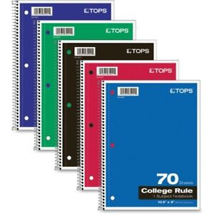 Tops Wirebound 1 subject Notebook College Rule 8 X 10 1 2 White 70 Sheets pa