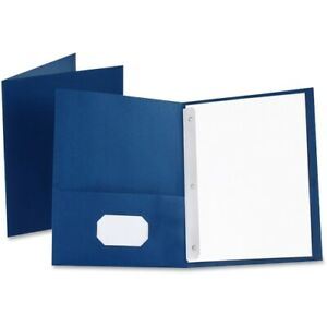 Oxford Twin pocket Folders With 3 Fasteners Letter 1 2 Capacity Blue 25 box