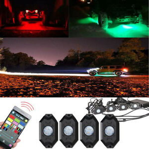 4x Rgb Led Rock Light Bluetooth Music Neon Lights Kit For Jeep Off Road Truck