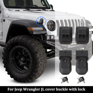 2pcs Hood Latch Catch Cover With Lock For Jeep Wrangler Jl 2018 Jt 2020 Black