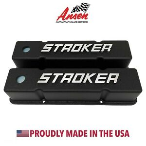 Small Block Chevy Tall Valve Covers 383 Stroker Raised Letter Black Ansen Usa