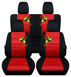 Front Rear Car Seat Covers Black Red W Tree Frog Fits Jk Wrangler 2dr 2007 2018