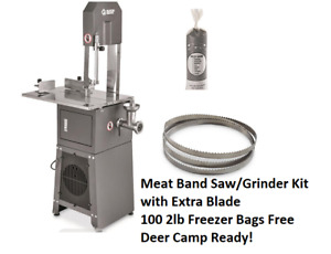 Electric Meat Cutting Band Saw And Grinder Kit Deer Camp Extra Blade Meat Bags