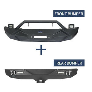 Black Front Rear Bumper W Winch Plate Led Light For 18 20 Jeep Wrangler Jl
