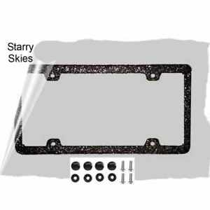 Thin Starry Nights Black Glitter Bling License Plate Frame And Screw Cover Kit