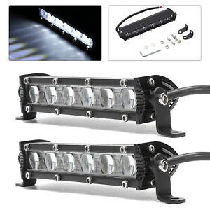 2pcs 8inch 18w Spot Beam Slim Led Work Light Bar Single Row Car Suv Offroad Lamp