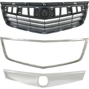 Grille For 2011 2014 Acura Tsx Set Of 3 Textured Black Plastic